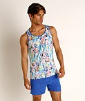 St33le Blue Abstract Stretch Jersey Tank Top, view 2