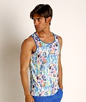 St33le Blue Abstract Stretch Jersey Tank Top, view 3