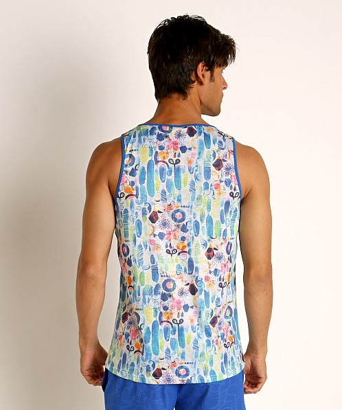St33le Blue Abstract Stretch Jersey Tank Top