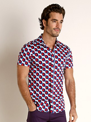 Model in blue/red hex St33le Stretch Jersey Knit Short Sleeve Shirt