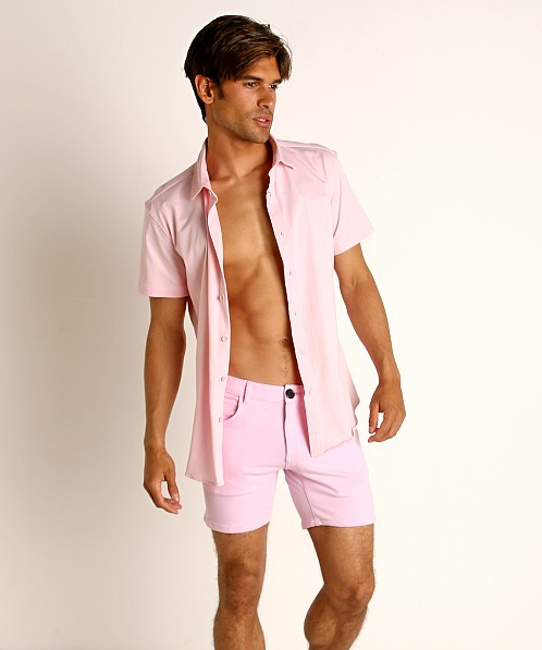 St33le Stretch Jersey Knit Short Sleeve Shirt Pink
