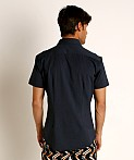 St33le Stretch Jersey Knit Short Sleeve Shirt Navy, view 4