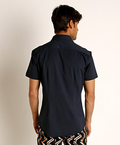 St33le Stretch Jersey Knit Short Sleeve Shirt Navy