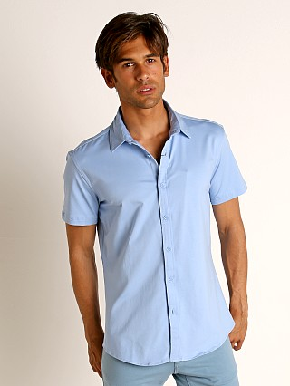 Model in cloud St33le Stretch Jersey Knit Short Sleeve Shirt