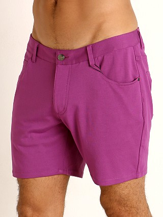 Model in grape St33le Knit Jeans Shorts