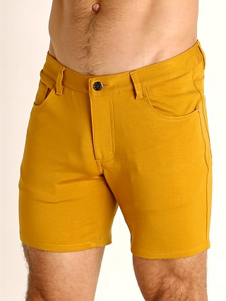 Model in honey gold St33le Knit Jeans Shorts