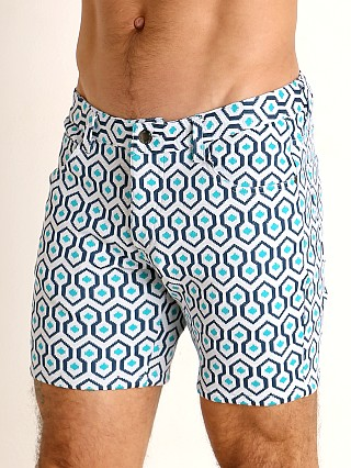 Model in teal/navy hex St33le Knit Jeans Shorts