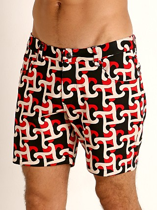 Model in red/black geo abstract St33le Knit Jeans Shorts