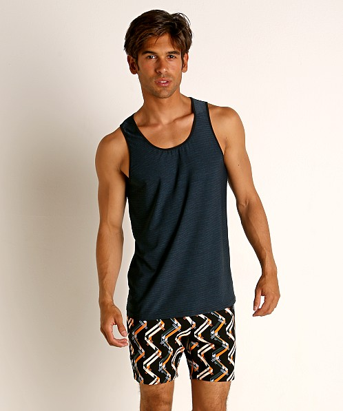 St33le Engineered Stripes Stretch Performance Tank Top Blue/Blac