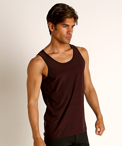 St33le Engineered Stripes Stretch Performance Tank Top Maroon/Bl