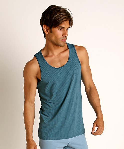 St33le Perforated Mesh Performance Tank Top Petrol
