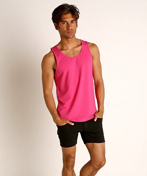 St33le Perforated Mesh Performance Tank Top Fuchsia