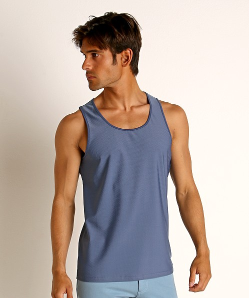 St33le Honeycomb Air Mesh Performance Tank Top Marine Blue