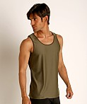 St33le Honeycomb Air Mesh Performance Tank Top Olive, view 3