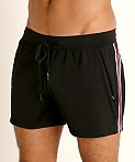 St33le Embossed Racing Stripe Gym Shorts Black, view 3