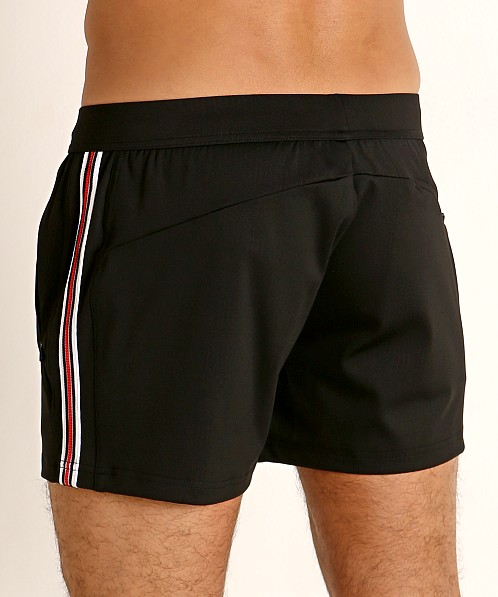 St33le Embossed Racing Stripe Gym Shorts Black