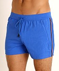 St33le Embossed Racing Stripe Gym Shorts Cobalt, view 3