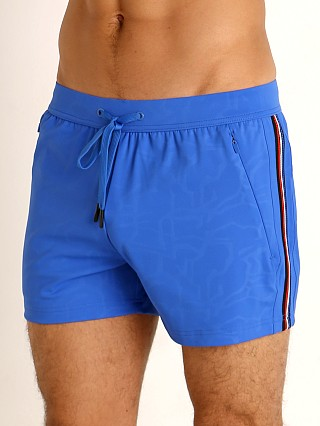 Model in cobalt St33le Embossed Racing Stripe Gym Shorts