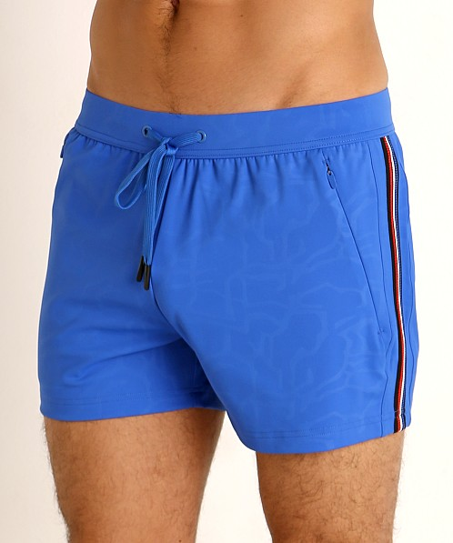 St33le Embossed Racing Stripe Gym Shorts Cobalt