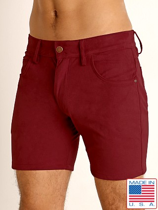 Model in merlot LASC Stretch Suede 5-Pocket Shorts