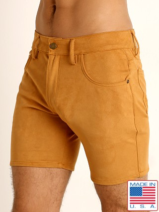 Model in congac LASC Stretch Suede 5-Pocket Shorts