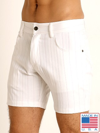 Model in white LASC Pinstriped Stretch Twill 5-Pocket Shorts