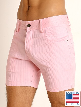 Model in pink LASC Pinstriped Stretch Twill 5-Pocket Shorts