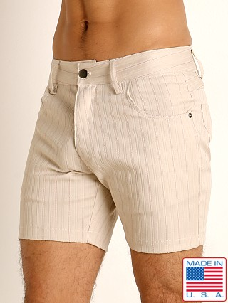 Model in stone LASC Pinstriped Stretch Twill 5-Pocket Shorts