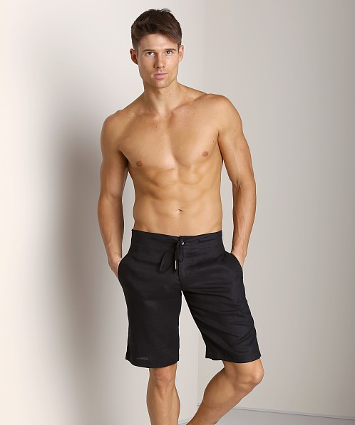 Sauvage 100% Laundered Linen Tropical Short Black