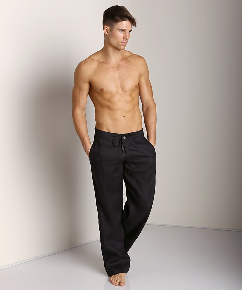 Sauvage 100% Laundered Linen Tropical Pant Black