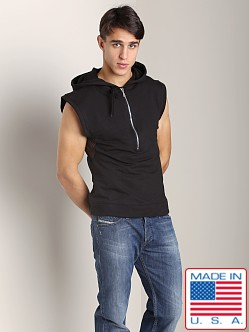 Sauvage Sleeveless Mesh Side Zipper Hoodie Black