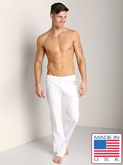 Sauvage Active Zipper Pant with Silver Side Stripe White