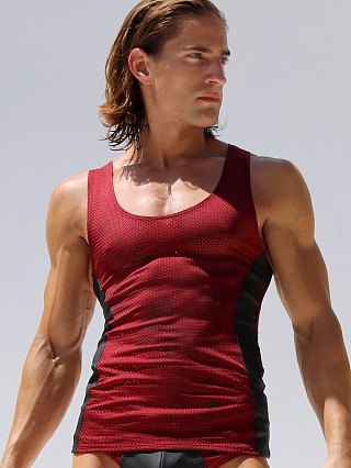 Rufskin Khal Mesh Rubber Sports Tank Top Burgundy