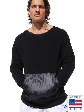 Model in black Rufskin Polar Fleece Kimono Longsleeve Shirt