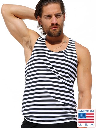 Rufskin Break Striped Athletic Tank Top Black