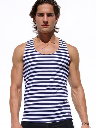Rufskin Break Striped Athletic Tank Top Navy