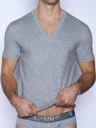 Model in grey heather C-IN2 Core V-Neck Shirt