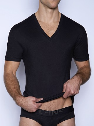 Model in black C-IN2 Core V-Neck Shirt