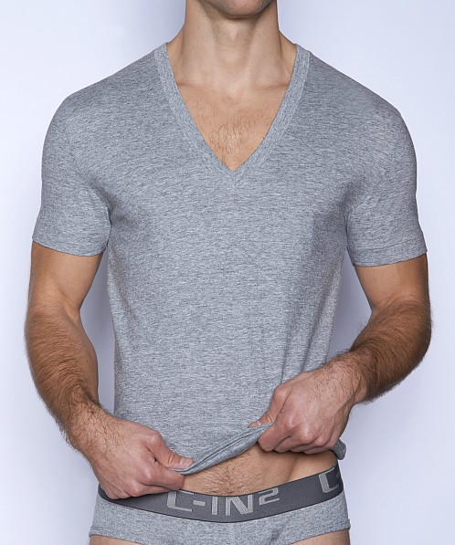 C-IN2 Core Deep V-Neck Shirt Grey Heather
