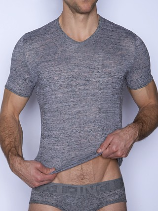 Model in ash heather C-IN2 Hand Me Down Ringer V-Neck Shirt