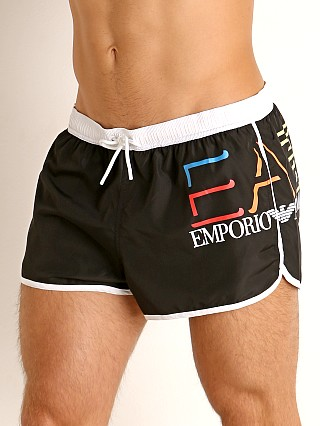 Model in nero Emporio Armani EA7 Woven Swim Shorts
