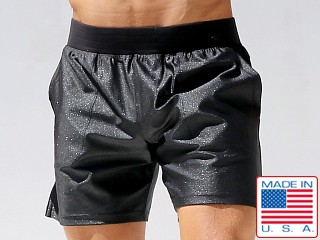 Model in black Rufskin Stellar Centaurus Shorts