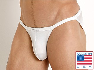 Model in white Rick Majors Power Spandex Sports Brief