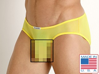 Model in yellow Rick Majors Sheer Mesh Hip Brief