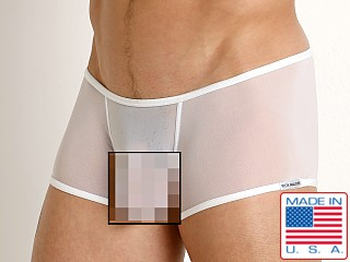 Model in white Rick Majors Sheer Mesh Trunk