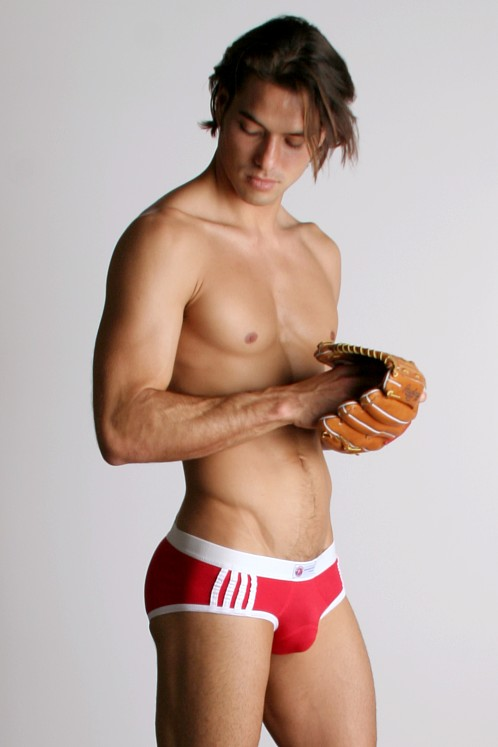 American Jock 4-Stripe Racer Brief Red/White