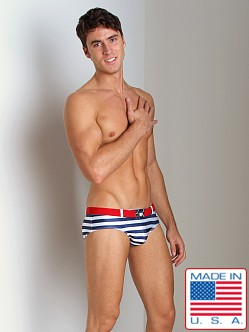 Pistol Pete Nautical Swim Brief Navy/White