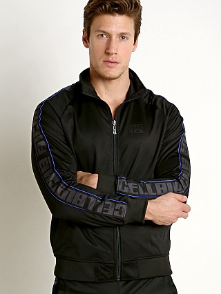 Model in black/blue Cell Block 13 Arena Track Jacket