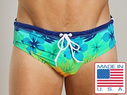 LASC Aussie Style Drawstring Swim Brief Blue Hibiscus