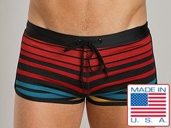 LASC Pool Boy Square Cut Black Stripes